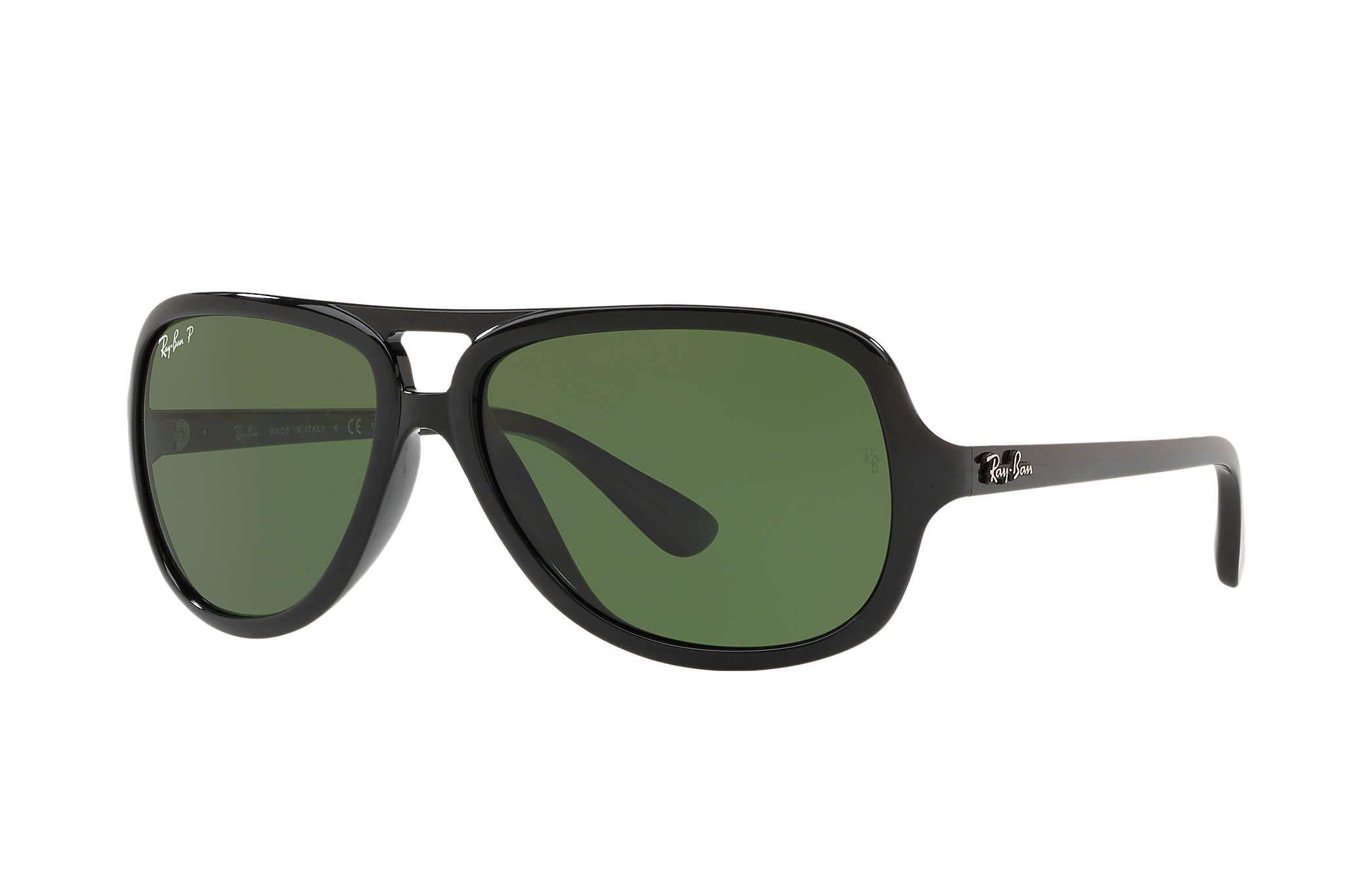RAY-BAN RB4162 Aviator Sunglasses, Black/Polarized Green, 59 mm by RAY-BAN