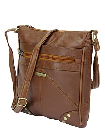 0f52320410 Lorenz Accessories Lorenz Soft Leather Zipped Across the Body Slim Hand Bag.  (TAN)  Amazon.co.uk  Clothing
