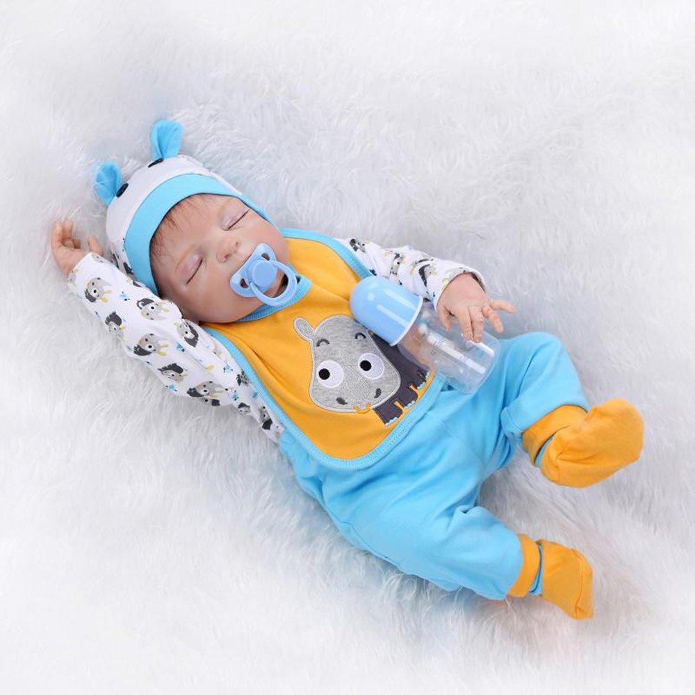 "decdeal 22 "" Rebirthシリコンフルボディベビー人形、Like Real Life新生児Lovely Sleeping Baby Boy人形ギフト、ブルー+イエロー   B07DGV12MM"