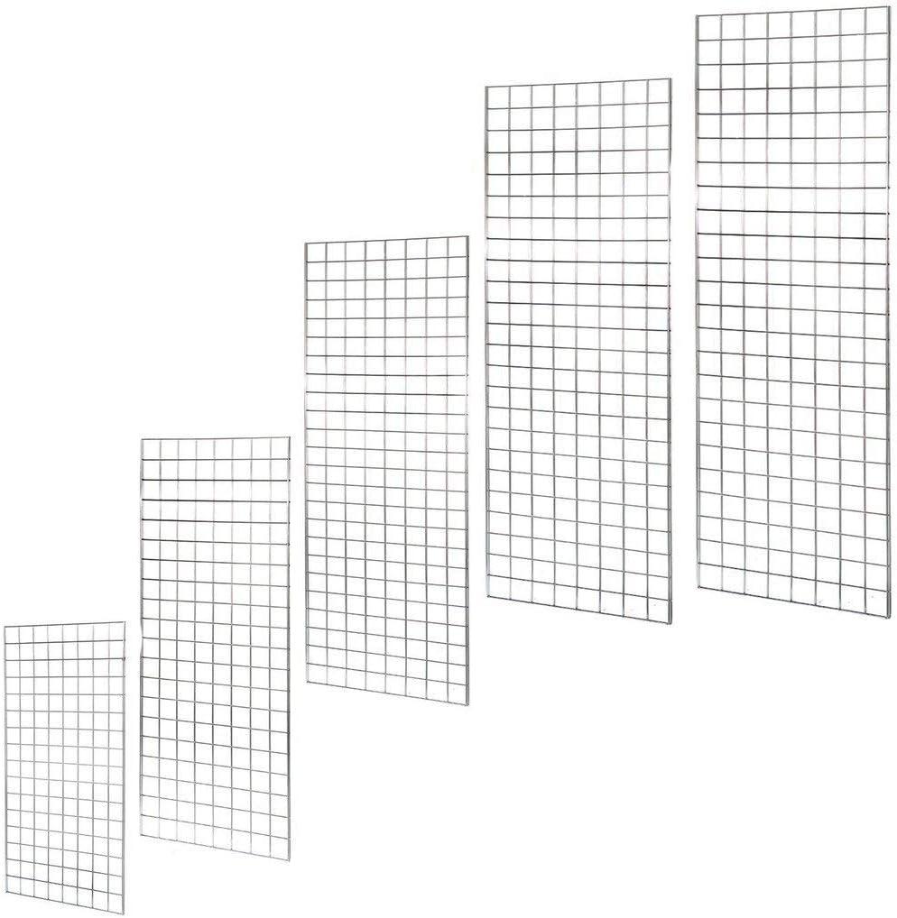 mit Haken f/ür Verkauf und Pr/äsentation von Accessoires Budget Gridwall System silber 122 cm Gitterwand aus Chrom