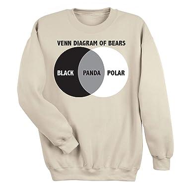 f15f3acf6 WHAT ON EARTH Men's A Venn Diagram of Bears Funny Beige Top, Panda  Sweatshirt -