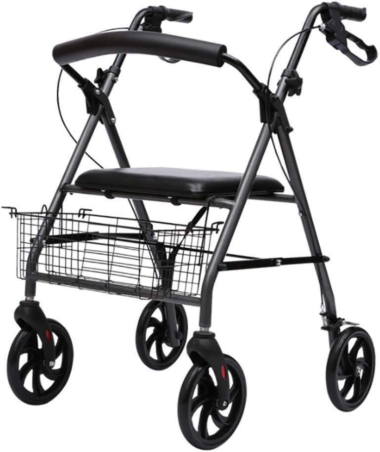Andador con ruedas plegable con asiento, andadores médicos de edad avanzada, carrito de la compra en las cuatro ruedas, andador con ruedas plegable de aluminio ligero y plegable, frenos de asiento aju