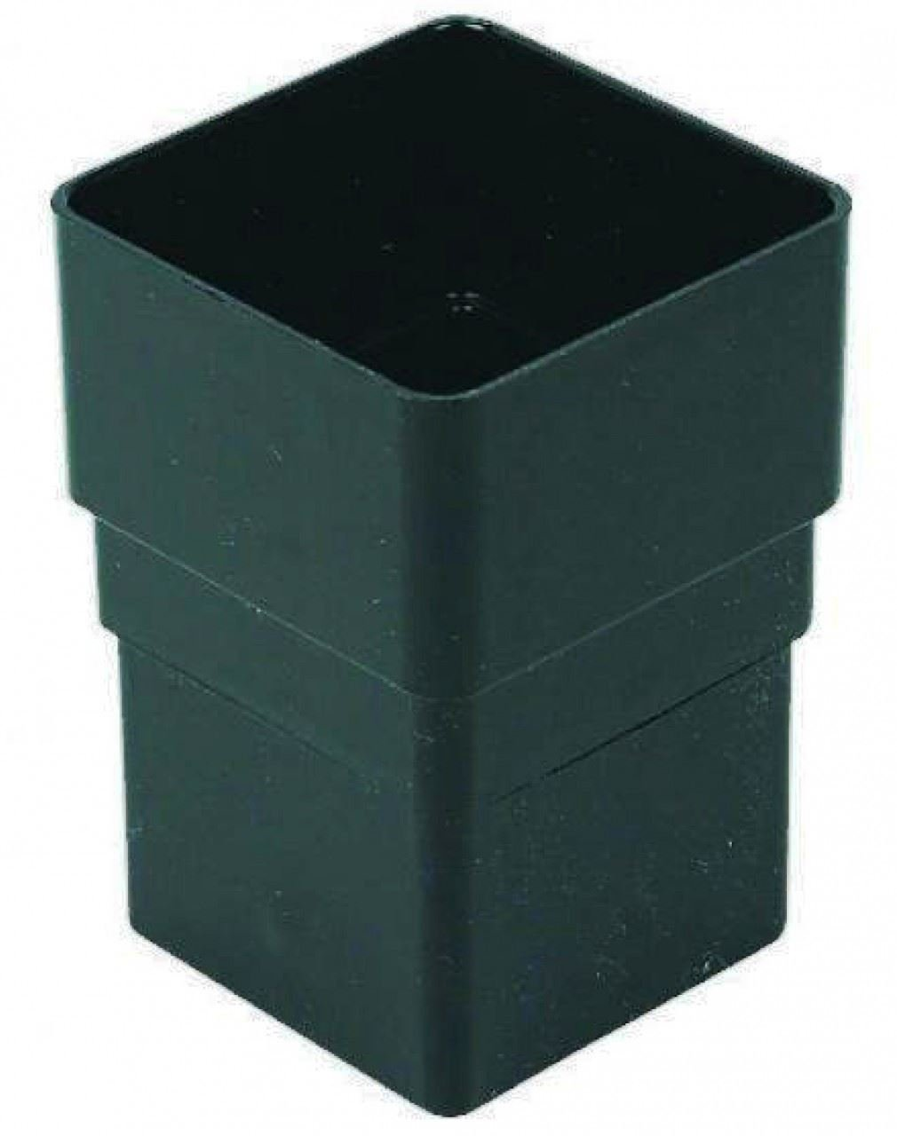 FLOPLAST 65mm Square Downpipe Socket - Black - Pack of 2