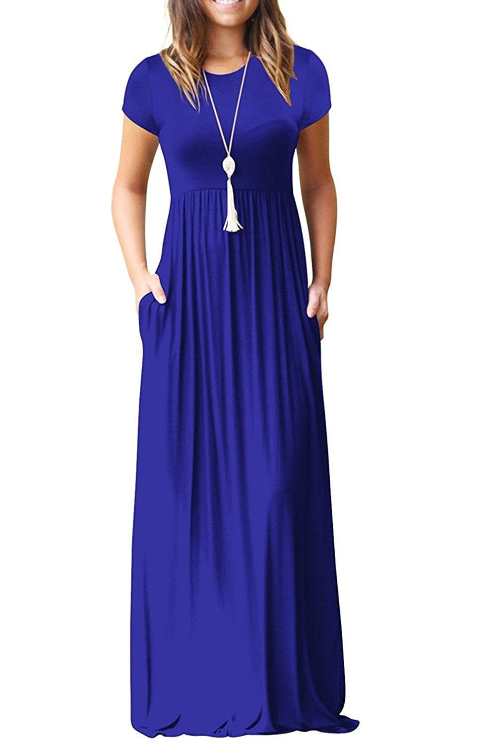 00 Royal bluee Short Sleeves HIYIYEZI Women's Short Sleeve Loose Plain Maxi Dresses Casual Long Dresses with Pockets