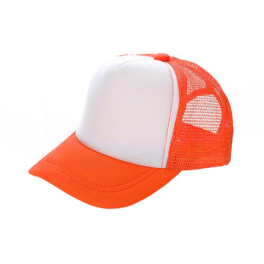 Opromo Summer Mesh Trucker Hat With Adjustable Snapback Strap Neon Baseball Cap-Neon Orange/White-2piece