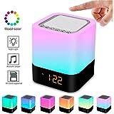 Altoparlante Suono Bluetooth Lampada da Comodino Controllo Touch Dimmerabile con LED da Tavolo Cambia Multi-colore Notte, Tutto in 1 Sveglia, Lettore MP3, sensore touch