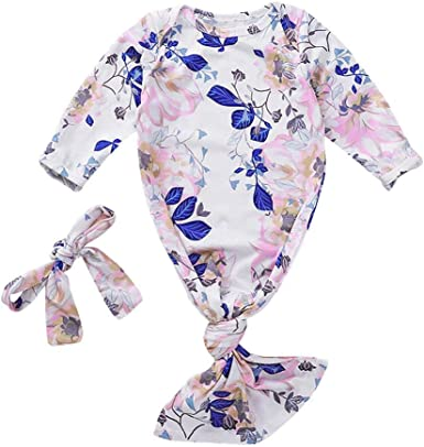 Newborn Baby Girls Nightgown Floral Print Sleepwear+Headband Coming Home Outfits