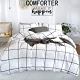 karever White Comforter Set Big Grid Plaid Printed Pattern Down Checkered Comforters Cotton Fabric with Soft Microfiber…
