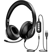 Mpow 224 PC Headset, [Foldable] USB Headset/3.5mm Computer Headset with [Retractable Microphone], Noise Cancelling Skype Headset PC Headsets with Mic for Skype Chatting,Call Center,Online Conference