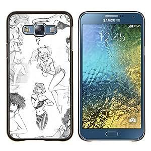 LECELL--Funda protectora / Cubierta / Piel For Samsung Galaxy E7 E700 -- diseño de moda chica arte blanco bosquejo sexy --