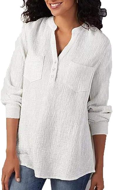 Camisas para Mujeres De Color Sólido De Manga Larga Bolsillos Moda Completi De Algodón Y Lino Tapas De La Manera Cómoda Ocasional Camisa Simple Blusa Otoño: Amazon.es: Ropa y accesorios