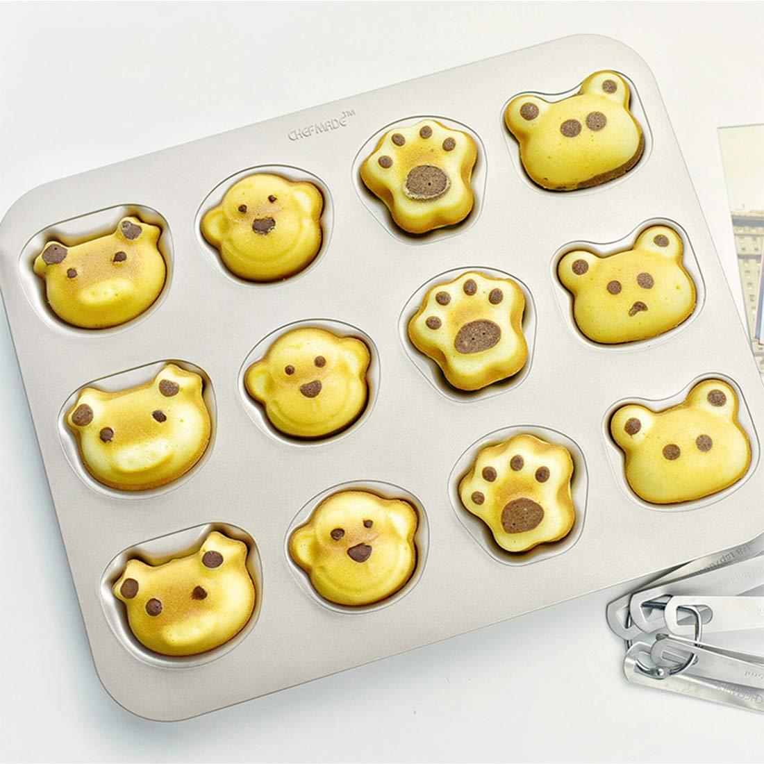 UniM 12 Cavity Financier Madeleine Animal Shaped Baking Pan Nonstick Cake Mold Kitchen Biscuit Bakeware