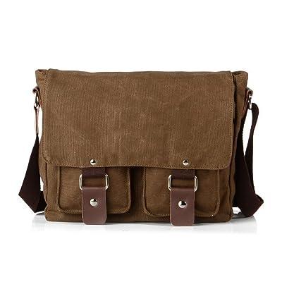 Lalagen Cotton Canvas Retro Field Small Messenger Bag Coffee
