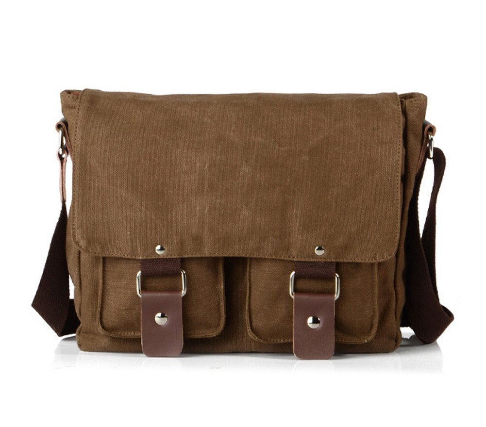Lalagen Cotton Canvas Retro Field Small Messenger Bag Coffee