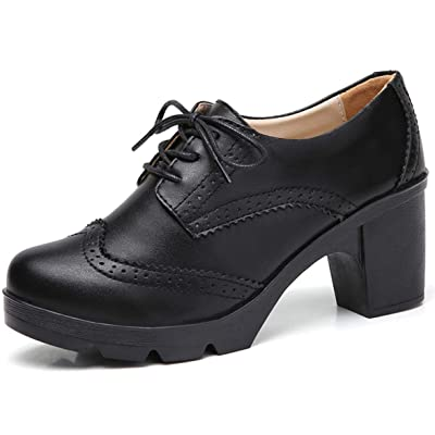 DADAWEN Women's Leather Classic Lace Up Platform Chunky Mid-Heel Square Toe Oxfords Dress Pump Shoes | Oxfords