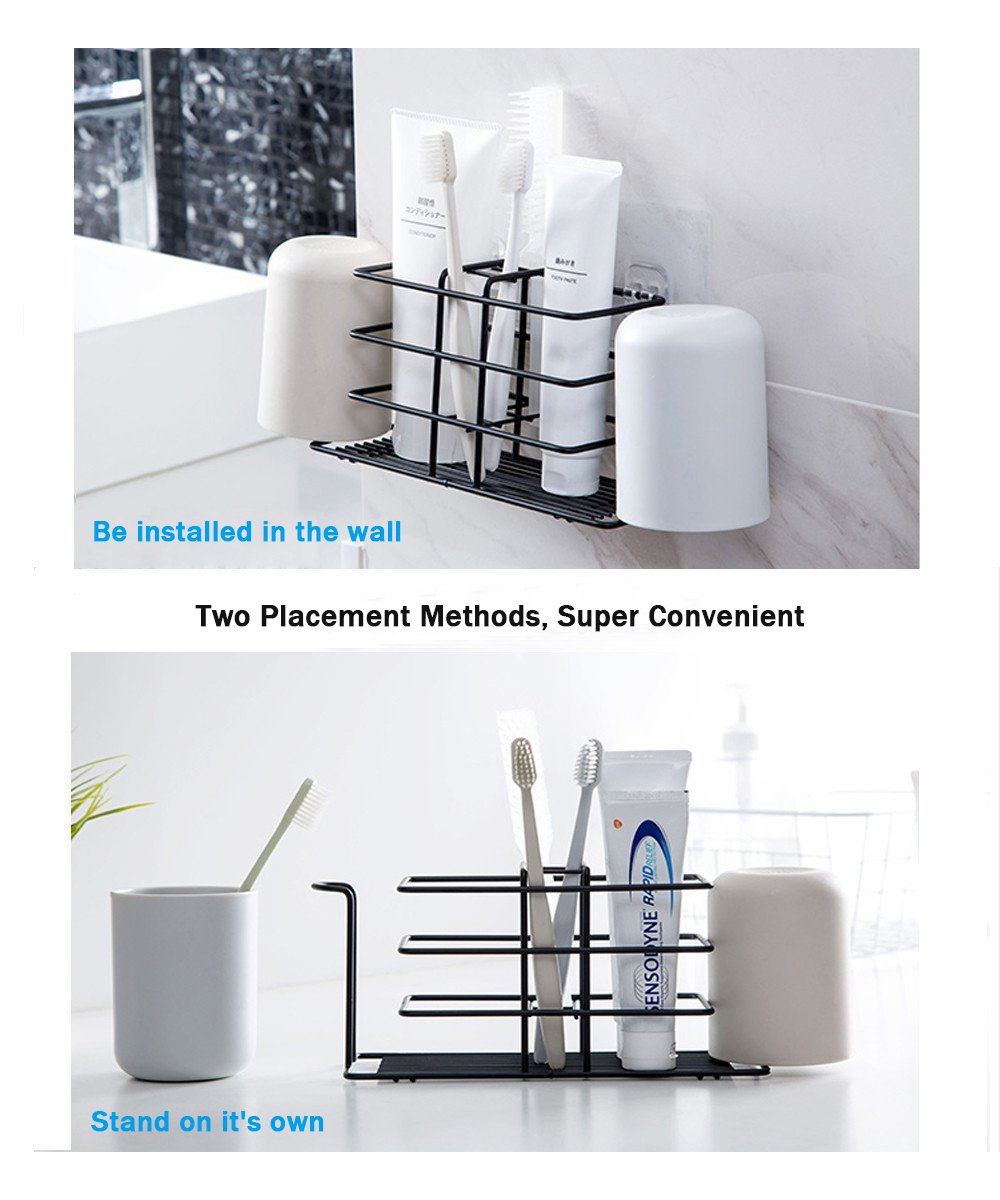 Amazon.com: Bamyko Toothbrush Holder Stainless Steel Toothpaste Holder Wall Mounted for Bathroom Storage - Black: Home & Kitchen