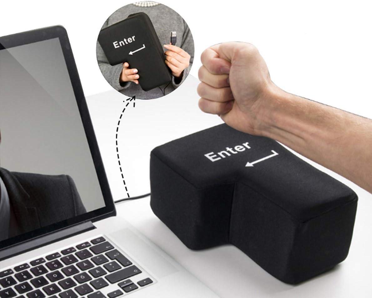 OMGOD USB Big Enter Key Relieve Stress Plush Toy, Throw Table Pillow Toys Anti-Stress Relief Super Size Stuffer Accent Desktop Foam Nap Pillow Vent Tool Peripheral Keys