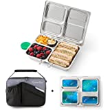 PlanetBox LAUNCH Eco-Friendly Stainless Steel Bento Lunch Box with 3 Compartments for Adults and Kids - Black Carry Bag with Galaxy Magnets