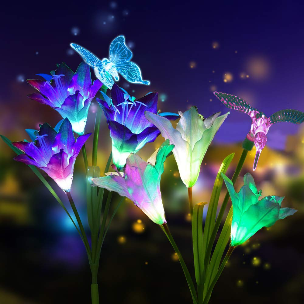 CGN 2pcs Outdoor Solar Garden Stake Lights - Solar Powered Multi-Color Changing Lights with 3 Lily Flowers and Butterfly, Hummingbird, Dragonfly, Solar LED Decorative Lights for Garden (Blue + White)