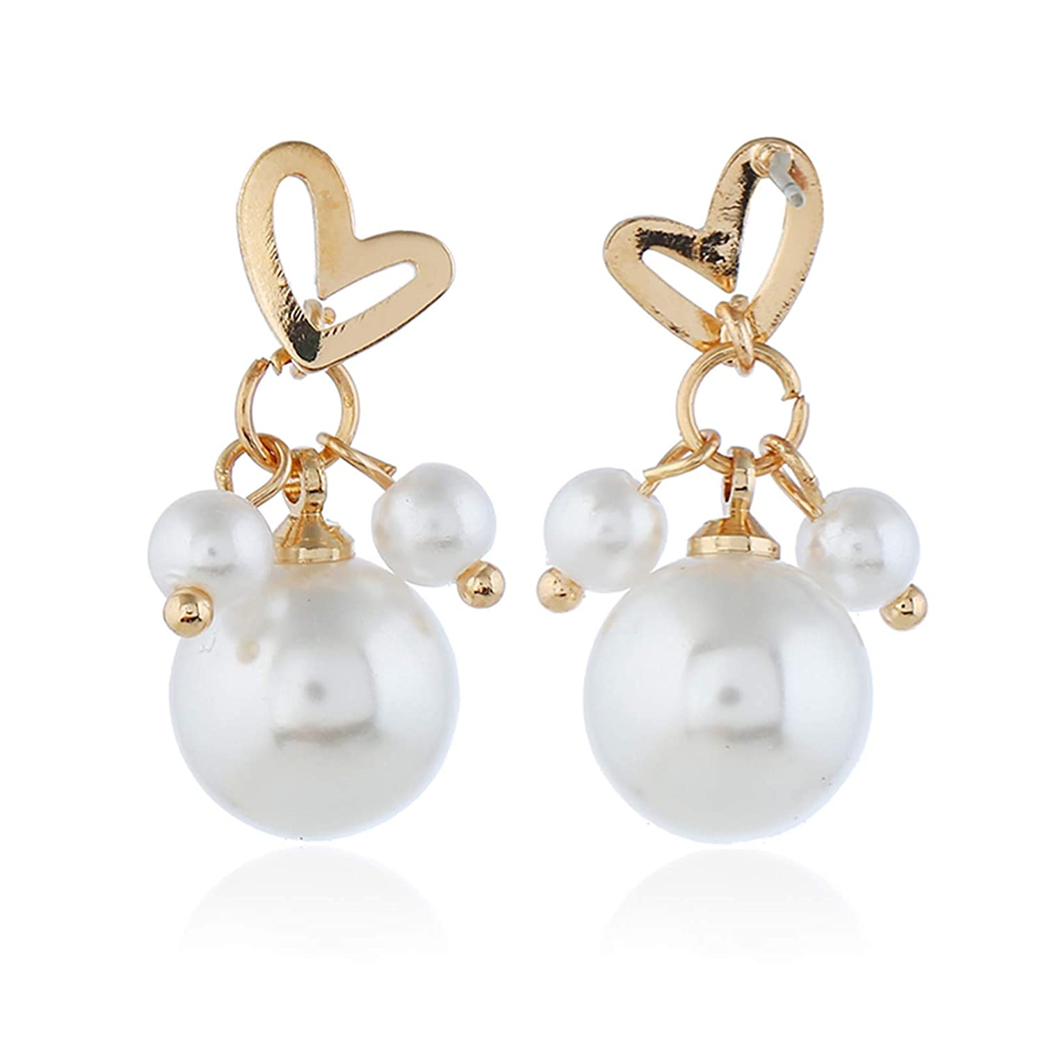 FoxLegend Womans Fashion pearl earrings with heart-shaped earrings short style earrings and thin Korean earrings for ladies