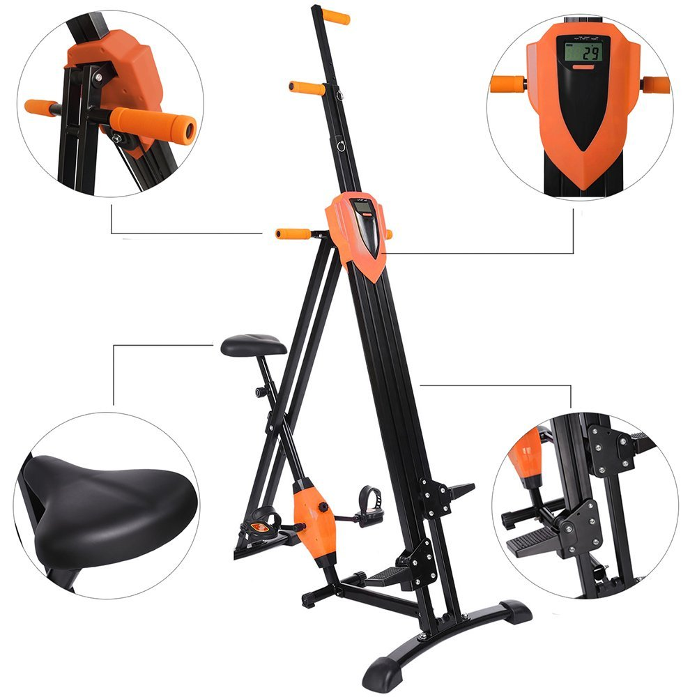 Miageek Vertical Climber Gym Exercise Fitness Machine Stepper Cardio Workout Training[US SOTCK] (Orange2)