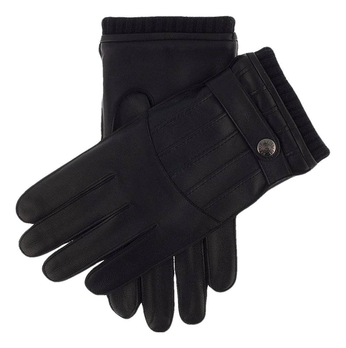 Black Dents Mens Lynton Knitted Cuff Gloves