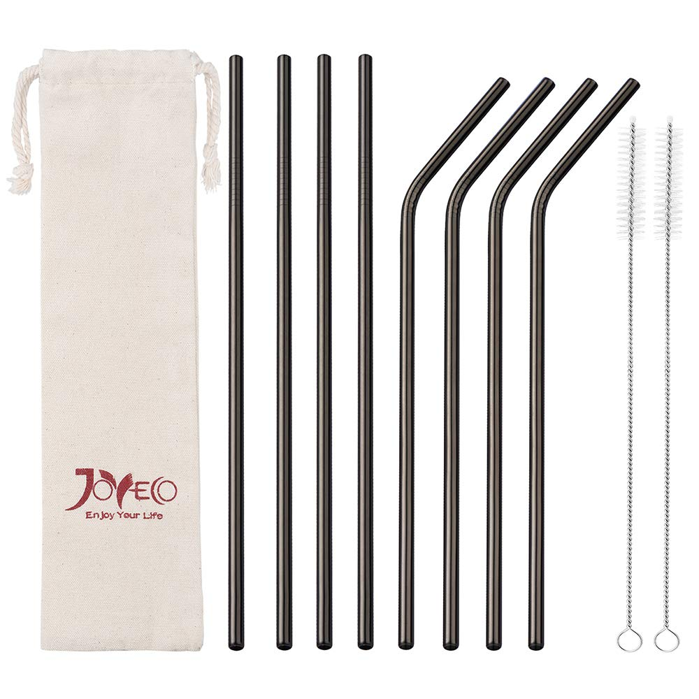JOYECO 8 Pcs Stainless Steel Drinking Straws, FDA Approved Straws Reusable, 8.5'' x 0.24'' for 20oz Tumblers Rumblers, Black