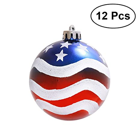 Patriotic Christmas Ornaments.Luoem Patriotic Ball Ornaments July Of 4th Ball Hanging Independence Day Party Decor Holiday Wedding Tree Decorations 12pcs