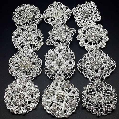 Mutian Fashion Lot 24pc Clear Rhinestone Crystal Flower Brooches Pins Set DIY Wedding Bouquet Broaches Kit by Mutian Fashion (Image #2)