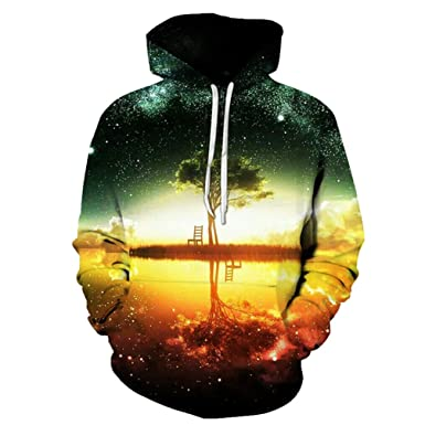 Yuehen Space Galaxy Hoodies Sweatshirt New Tree Lake Chiar 3D Hooded Hoody Sudadera Hombre Casual Outwear