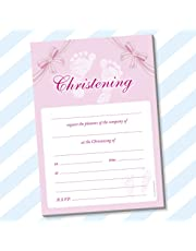 20 x A5 Christening Invitations (With White Envelopes, Baby Steps Pink)