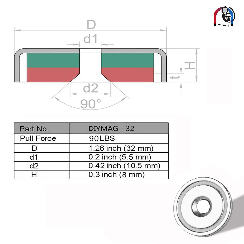 Wukong 8 Pi/èces N52 Aimants Pot avec al/ésage de Compteur avec vis de Fixation,Force de Traction Super puissante 32KG pour la Tenue,lam/élioration de lhabitat Les projets de Bricolage