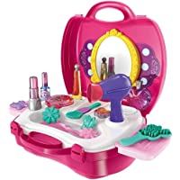 Arihant Impex Girl's Plastic Bring Along Beauty Suitcase Makeup Vanity Toy Set (Pink) - Pack of 21