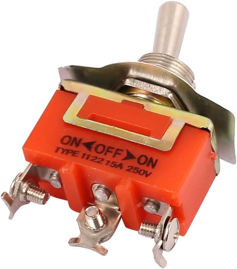 SOURCING MAP sourcingmap Interruptor pulsador 15A 250V CA 3 terminales de Tornillo On//Off//On salpicadero met/álico SPDT