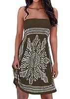 Zyyfly Women's Strapless Floral Print Bohemian Casual Mini Beach Dress