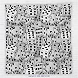 59 x 59 Inches Casino Decorations Fleece Throw Blanket The Dices Close-up Abstract Monochromic Chaotic Crowded Gaming Houses Blanket