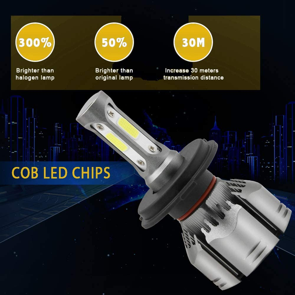 6500k Cool White for Low Beam//High Beam//Fog Lights Headlight Bulb Replacement Up to 10000 Lumens H13 9008 Dual High Low Beam LED Headlight Bulbs Conversion Kit With Bridgelux-COB LED Chips