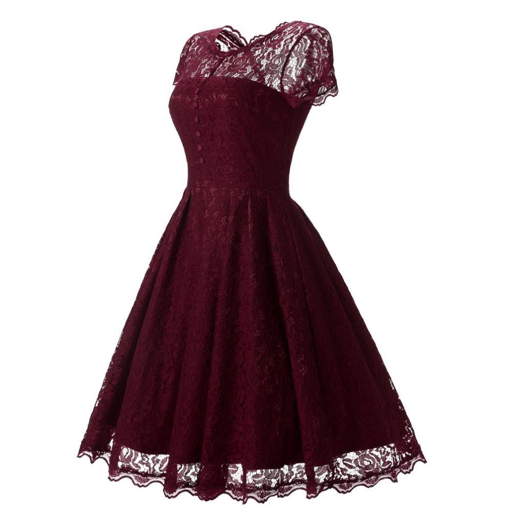 Lenfesh Las Estilo Vintage Vestido Niña para Año Nuevo Fiesta Coctel Boda,Elegante Floral Lace Retro Prom Vestido Rectos para mujer: Amazon.es: Ropa y ...