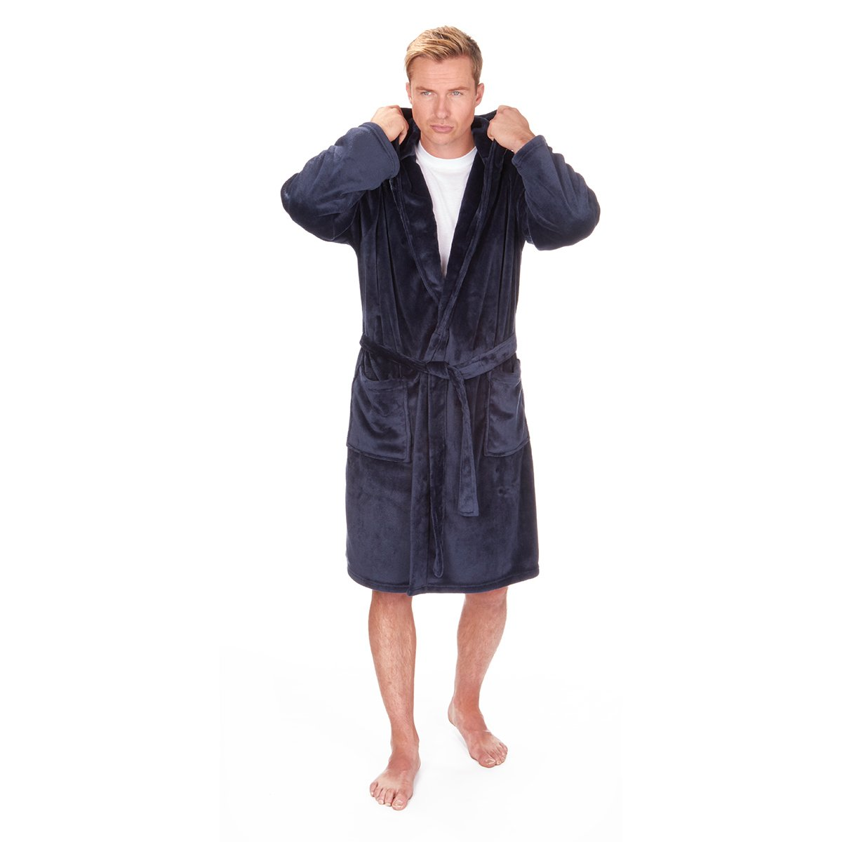 Big & Tall Men\'s Fleece Hooded Robe - Winter Dressing Gown - Sizes ...
