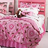 Pink Pony Bandana Horse Print Twin Comforter Set (6 Piece Bed In A Bag) + BONUS HOMEMADE WAX MELT!