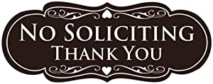 All Quality Designer NO Soliciting Thank You Sign - Dark Brown Small