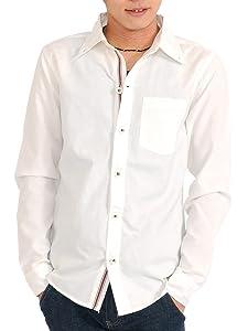 SPADE シャツ メンズ 長袖 ダンガリー 白シャツ カジュアル