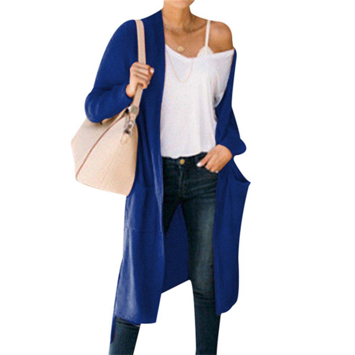 FUNOC Women's Long Cardigan Coat,Casual Korean Shawl Sweater Knitting Outerwear