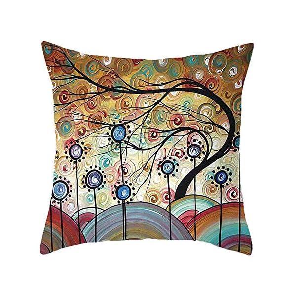 61YFNLbAGEL Freeas Kissenbezug 45 x 45 cm, Baumwolle Leinen Tropische Pflanzen Kissenhülle Taille Wurf Kopfkissenbezug für Zuhause…