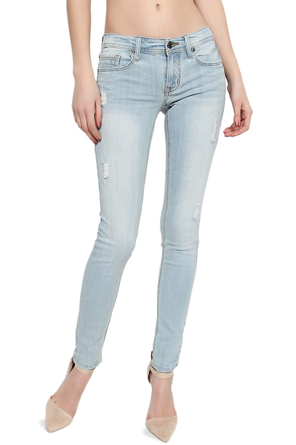 TheMogan Women's 0~3XL Distressed Destroyed Ripped Medium Washed Skinny Jeans
