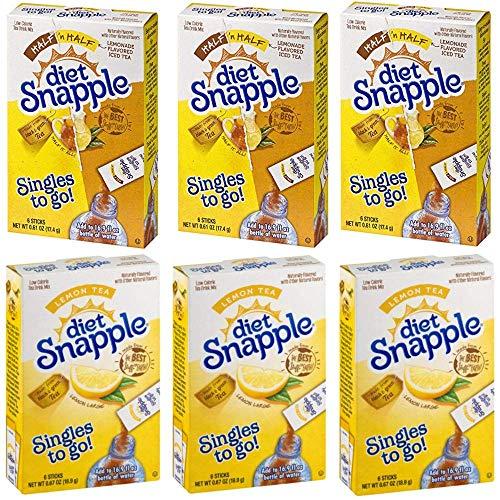 Diet Snapple Iced Tea Singles To Go Variety Pack! 3 Half Lemonade/Half Tea + 3 Lemon Flavor! 6 Boxes with 6 Packets Each = 36 Servings!