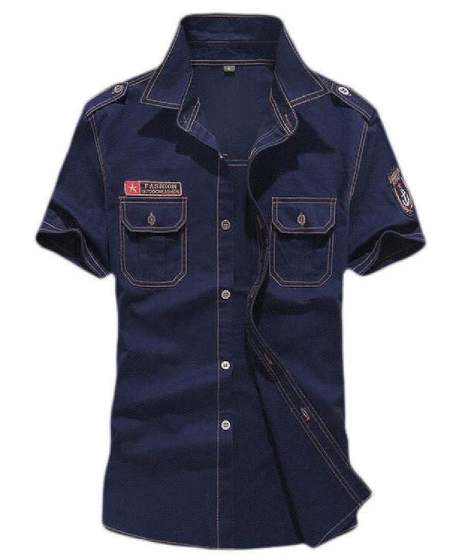YYG Men Military Basic Cotton Short Sleeve Buttons Pockets Dress Shirts