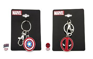 Set of 2 Marvel Capitán América y Deadpool llavero de metal ...