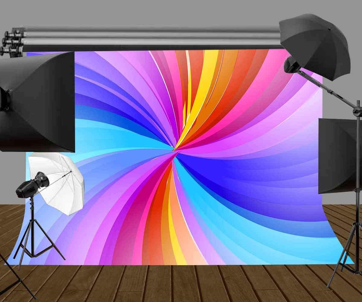 GoHeBe 7X5ft Rainbow Stripes Backdrop Spiral State Rainbow Stripes Photography Backdrop Art Studio Background Props Abstract Art Mural LYGY209