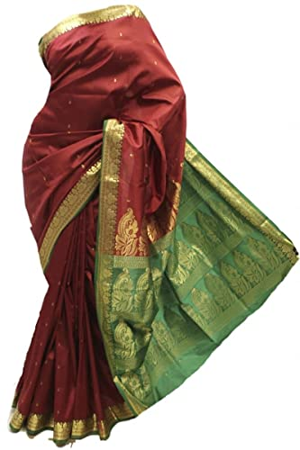 ASB3591 Marrone e Verde Saree di seta d'arte Indian Art Silk Saree Curtain Drape Fabric Unstitched B...